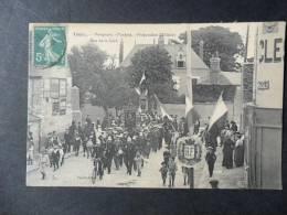 Ref1981 CPA Animée De Toury (Eure Et Loir), Pompiers, Fanfare Préparation Militaire, Rue De La Gare - Paillet éd. DL - Francia