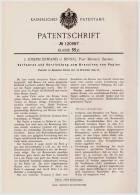 Original Patentschrift - J. Erwand In Binnig , Post Berneck , Bayern , 1899 , Apparat Zum Bronzieren Von Papier , Bronze - Bronzen