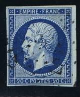 France, 1852 Yv 14 I D Bleu Sur Vert/ Blue On Green,oblitéré/cancelled, Signé - 1853-1860 Napoleon III