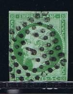 France, 1852 Yv 12 A Mi 11, Vert Jaune,oblitéré / Cancelled : J - 1853-1860 Napoleon III