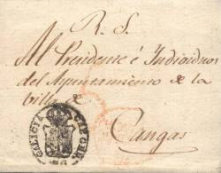 Año 1827 Prefilatelia Envuelta De Santiago A Cangas Marcas Santiago Galicia, Sello Galicia Cap. Gen., Porteo - ...-1850 Vorphilatelie