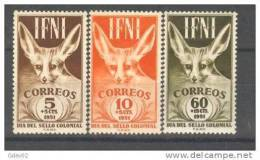 IF76-L3109TM.ZORRO.Marruc Os.  Maroc ,Marocco, IFNI  ESPAÑOL.1951 (Ed 76/8**) Sin Charnela.LUJO - Marruecos (1956-...)