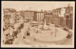 1951 NAPOLI PIAZZA DANTE FP V 2 SCAN ANIMATA TRAM TARGHETTA CONTRO I TUMORI - Napoli