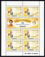 Kiribati MNH Scott #373.-374 Minisheet Of 7 12c Charles And Diana - Royal Wedding - Kiribati (1979-...)