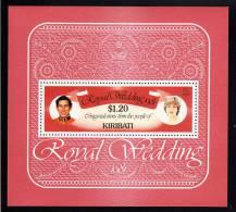 Kiribati MNH Scott #379 Souvenir Sheet $1.20 Charles And Diana - Royal Wedding - Kiribati (1979-...)