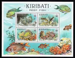 Kiribati MNH Scott #455a Souvenir Sheet Of 4 Tang, White-barred Trigger, Surgeon, Squirrel - Reef Fish - Kiribati (1979-...)
