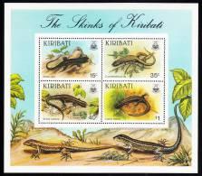 Kiribati MNH Scott #494a Souvenir Sheet Of 4 Skinks Of Kiribati - Kiribati (1979-...)