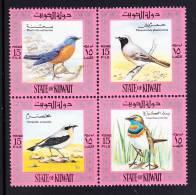 Kuwait MNH Scott #586 Block Of 4 Common Rock Thrush, European Redstart, Wheatear, Bluethroat - Birds - Koweït