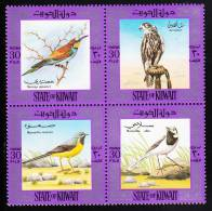 Kuwait MNH Scott #589 Block Of 4 European Bee-eater, Goshawk, Gray And Pied Wagtails - Birds - Koweït