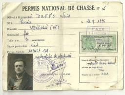 PERMIS DE CHASSE 1951 DEPARTEMENT HAUTE PYRENEES 65 MONTOUSSE - Revenue Stamps