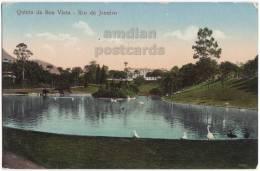 RIO DE JANEIRO~QUINTA DA BOA VISTA~c1910-20s Color Postcard~PARK LAGOON~BRASIL~BRESIL CPA  [s3859] - Boa Vista