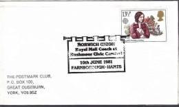 DV 1085) GB UK: Farnborough 1981: Royal Mail Coach, Rushmoor Civic Carnival,   Fanfare - Music