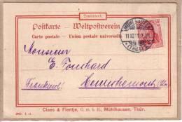 HAUT RHIN - MULHOUSE - ENTIER POSTAL - FACTURE DE CLAES & FLENTJE - 1903 ? - Mulhouse