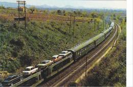 20766 Chemins De Fer Français, Train Autos Couvhettes, Car Sleeper Express. Sncf 1973 -N°84 -voiture DS Citroen - Trains