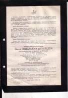 UCCLE BRUGMANN De WALZIN Frédéric 1874-1945 Industriel Cavalier Faire-part Mortuaire - Décès