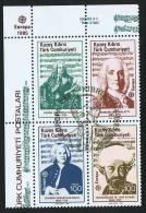 1985  Europa Issue: Musicians: Händel, Scarlatti, Bach, Corner Block Of 4  First Day Cancel - Cyprus (Turkey)