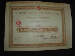 """Action""""Banque Belge Et Française"""" Paris Bon état  Bank .       Reste Des Coupons. - Banca & Assicurazione"""