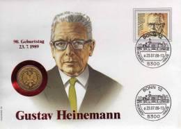 Numisbrief Demokratie 1989 Numisletter Bundesbank 1DM Gold+ BRD 1158 O 20€ Porträt Präsident Heinemann Cover Of Germany - 1 Mark