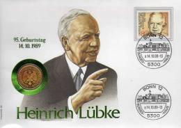 Numisbrief Demokratie 1989 Numisletter Bundesbank 1DM In Gold + BRD 1157 O 20€ Porträt Präsident Lübke Cover Of Germany - [ 7] 1949-…: BRD