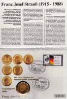 Numisbrief 40 Jahre BRD 1989 Numisletter Bundesbank 2DM In Gold + Deutschland 1421 O 22€ Porträt Strauß Cover Of Germany - [ 7] 1949-… : FRG - Fed. Rep. Germany