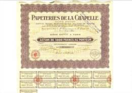 Papeteries De La Chapelle 28 Juillet 1939 - Actions & Titres