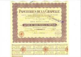 Papeteries De La Chapelle 28 Juillet 1939 - Shareholdings
