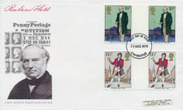 Great Britain 1979 FDC Sir Rowland Hill And Bellman Two Gutter Pairs On Cover - Rowland Hill