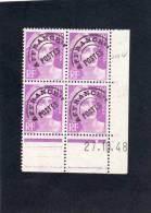 France Bloc De 4 Timbres Préoblitérés Coin Daté N°102 - 1940-1949
