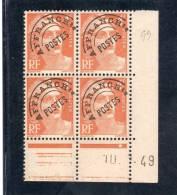 France Bloc De 4 Timbres Préoblitérés Coin Daté N°99 - 1940-1949