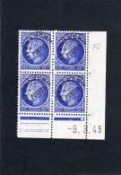 France Bloc De 4 Timbres Préoblitérés Coin Daté N°87 - 1940-1949