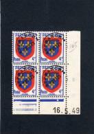 France Bloc De 4 Timbres Préoblitérés Coin Daté N°105 - 1940-1949