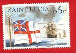 SAINT LUCIA - ST. LUCIA - 1996 ?? - USED - FLAG & SHIPS - R. N. FRIGATE SQUADRON - 55 C. - St.Lucia (1979-...)