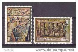 ES2162-B40TAES.Capitel,mo Nasterio    De Silos Y Adoracion.Burgos.NAVIDAD  AÑO 1973 (.Ed.2162/3**) Sin Charnela.LUJO - Escultura