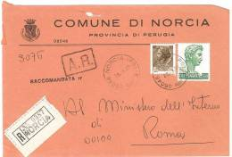 NORCIA  06046  PROV. PERUGIA  - ANNO 1980 - R   -TEMATICA COMUNI D´ITALIA - STORIA POSTALE - Affrancature Meccaniche Rosse (EMA)