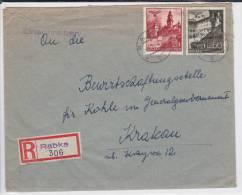 POLOGNE (GOUVERNEMENT GENERAL) - 1941 - ENVELOPPE RECOMMANDEE De RABKA Pour CRACOVIE - 1939-44: 2. WK