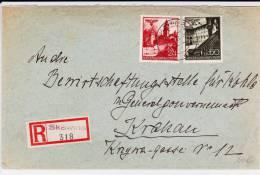 POLOGNE (GOUVERNEMENT GENERAL) - 1941 - ENVELOPPE RECOMMANDEE De SLAWINA Pour CRACOVIE - Gobierno General