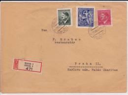 BÖHMEN UND MÄHREN - 1943 - ENVELOPPE RECOMMANDEE De MELNIK - HITLER - - Bohemia & Moravia