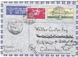 Flugbrief Von RAPPERSWIL 21.VI.1948 Nach Colombo-Fort (Ceylon) - Poste Aérienne