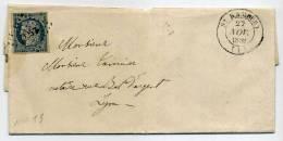 AIN - N° 4 OBL. PC AVEC T. 14 DE ST. RAMBERT LE 27/11/1852, POUR LYON - SUP - 1849-1876: Période Classique
