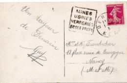 FRANCE DAGUIN DENAIN MINES USINES VERRERIES ECOLE PROF SUR CP - Postmark Collection (Covers)
