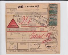 III° REICH - 1936 - BULLETIN D'EXPEDITION De BERLIN Pour BASEL (SUISSE) Avec CACHET De DOUANE - TIMBRES ZEPPELIN - Deutschland
