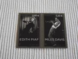France, 2012, Etats-Unis / France: Edith Piaf - Miles Davis (YV 4671 - 4672) - Neufs