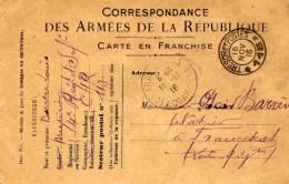 Correspondance Des Armées De La République - Carte En Franchise - D'un Musicien Au 4e Reg. D'inf. - Militaria
