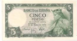 Spain - 1954 - 5 Pesetas - P146 - AU++ - [ 3] 1936-1975: Franco