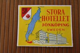 Étiquette D'hôtel —>Hôtel Stora Hotellet Jonkping Sweden Suède Sweridge - Etiketten Van Hotels