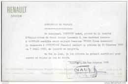 """Certificat De Travail """" RENAULT SAVIEM """" Ets Legoueix à Saint Lô Manche - 1950 - ..."""