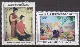 PGL AU412 - LAOS AERIENNE Yv N°62/63 ** FOLKLORE COSTUMES ARTISANAT - Laos