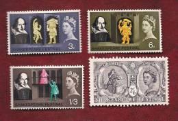 UK 1964  Mint Hinged Stamp(s)  Elizabeth II  Shakespear Nrs. 366=379 4 Values Only) - 1952-.... (Elizabeth II)