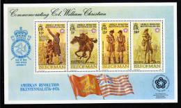 Isle Of Man MNH Scott #81a Souvenir Sheet Of 4 Bicentennial Of American Revolution - Col. William Christian - Man (Eiland)