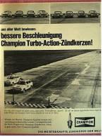 Reklame Werbeanzeige  -  Champion  -  Turbo-Action-Zündkerzen  -  Bessere Beschleunigung  -  Von 1969 - Cars